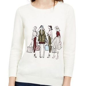 Maison Jules Graphic Shopping Sweater L #C  0629